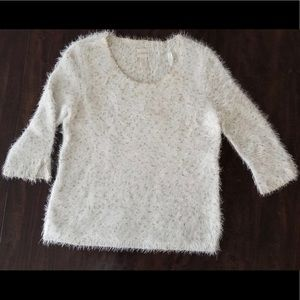 Chico's Eyelash Sweater Gold and White